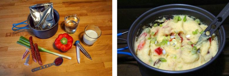 Outdoor Rezept Nr1: Kartoffelpüree, Paprika