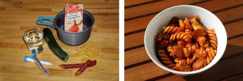 Outdoor-Rezept Nr3: Nudeln, Tomatensauce, Zucchini