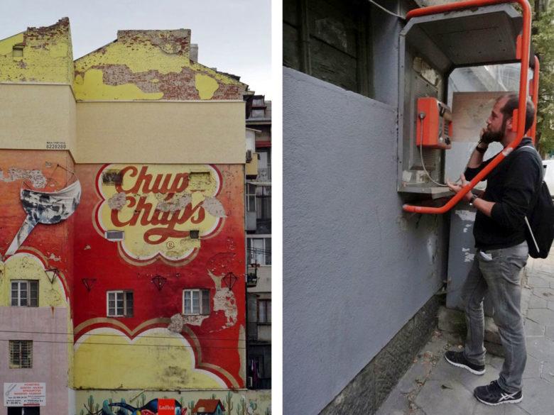 Street Art und altes Telefon in Sofia