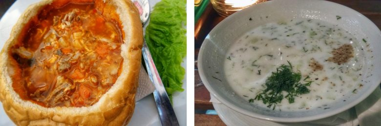 Brotsuppe und Tarator Gurkensuppe in Sofia