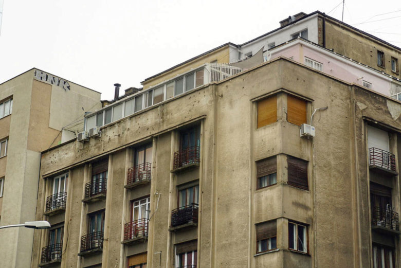 Bukarest Einschusslöcher von Revolution