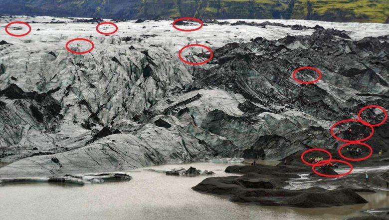 Island Momente Touristen Gletscher