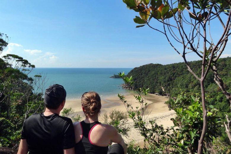 Aussicht auf den Strand Telok Pandan Besar
