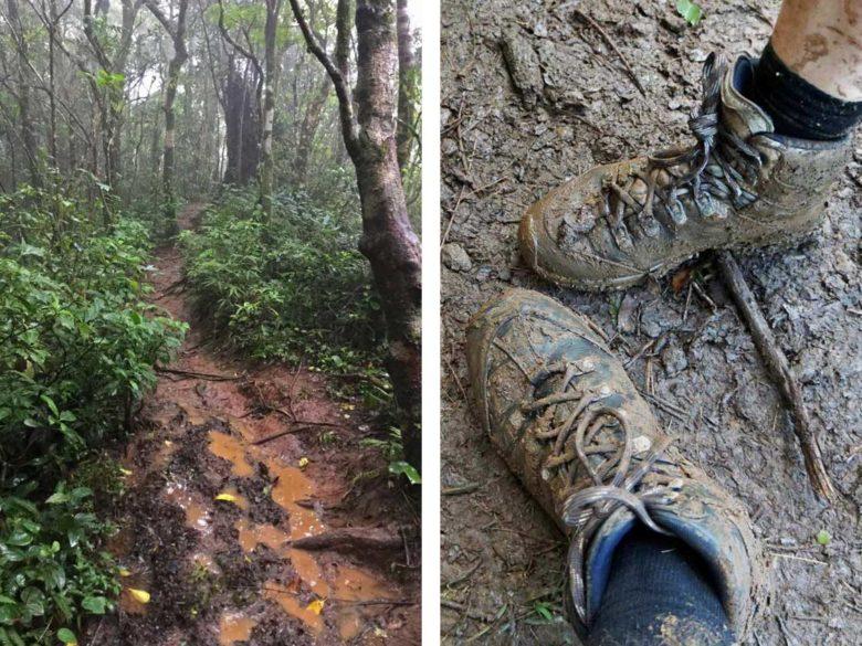 Matsch-Schuhe beim Trekking am Vulkan Maderas