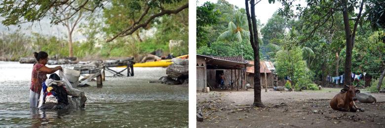 Ometepe - Waschen im See und Dorfleben