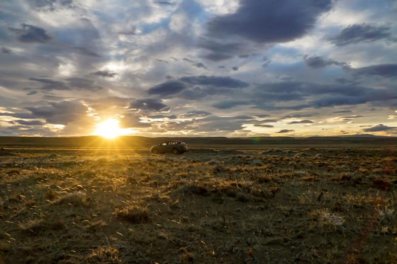 Camping Patagonien Wildcamping Sonnenuntergang