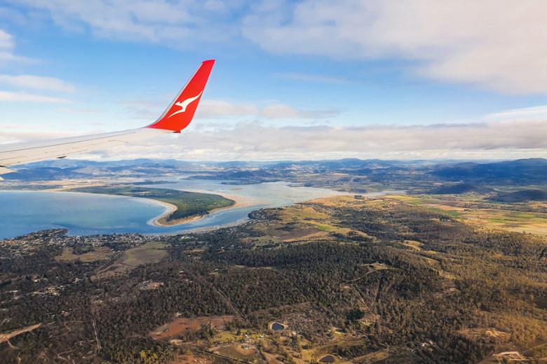 Flug über Hobart